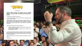 Santiago Abascal, en la fiesta de Cañas por España de Sala Barceló, junto al comunicado de la Tanga Party!