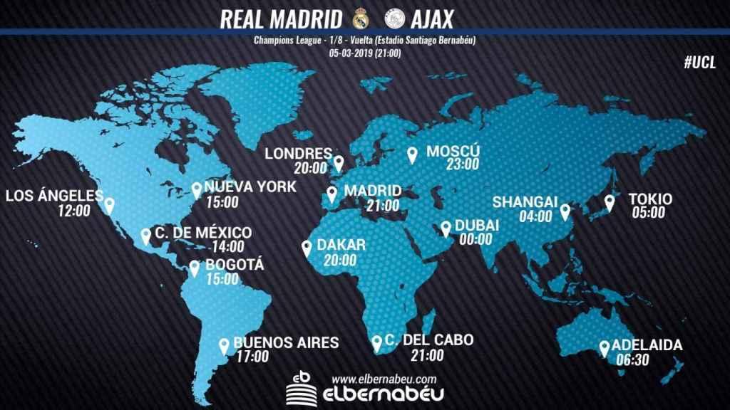 Horario internacional y dónde ver el Real Madrid - Ajax