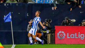Óscar Rodríguez celebra su gol ante el Levante