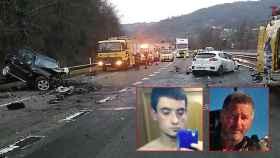 Los dos vehículos tras la colisión frontal que acabó con la vida del jubilado José Ramón (foto derecha). En la imagen izquierda, el kamikace Raúl.
