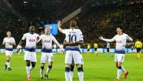 Kane celebra el gol del Tottenham Hotspur ante el Borussia Dortmund en Champions League