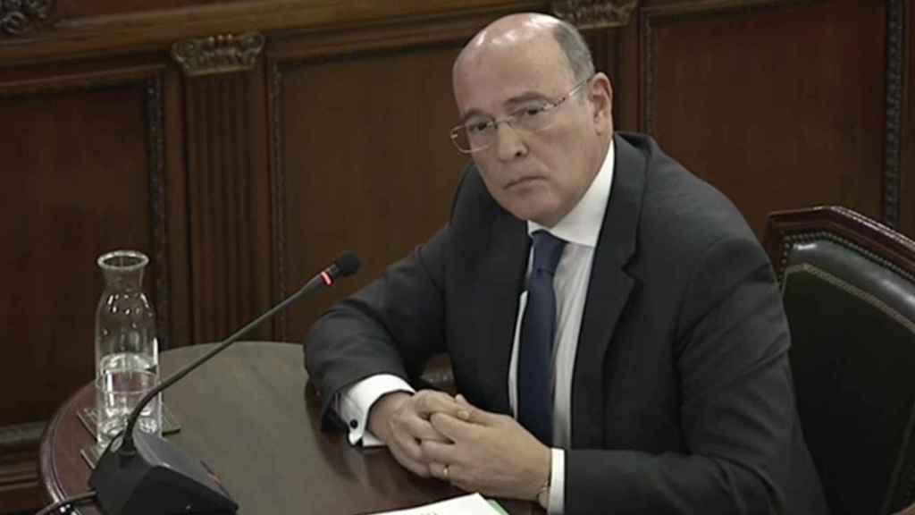 El coronel Diego Pérez de los Cobos durante su declaración frente al Tribunal Supremo.