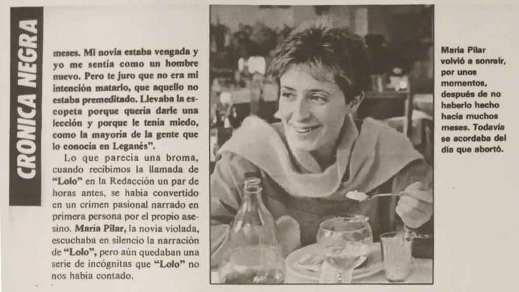 Pilar Baeza en el reportaje publicado en Interviú.