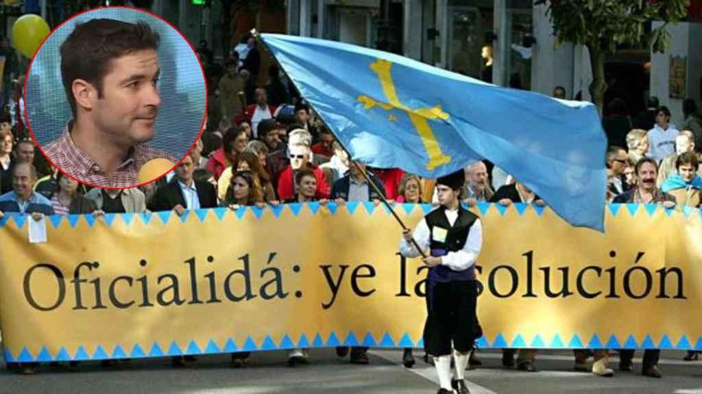 Manifestación a favor del bable, junto a una imagen del portavoz de la plataforma contra la cooficialidad.