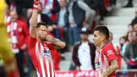 Saúl Ñíguez celebra un gol con el Atlético de Madrid