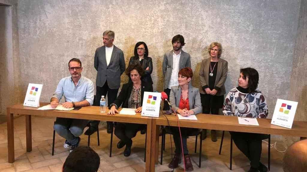 Presentación del acuerdo entre Podemos, EH-Bildu, Geroa Bai e Izquierda-Ezkerra, en Pamplona.