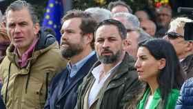 Rocío Monasterio, líder de Vox en Madrid, junto a Santiago Abascal, Espinosa de los Monteros y Javier Ortega.
