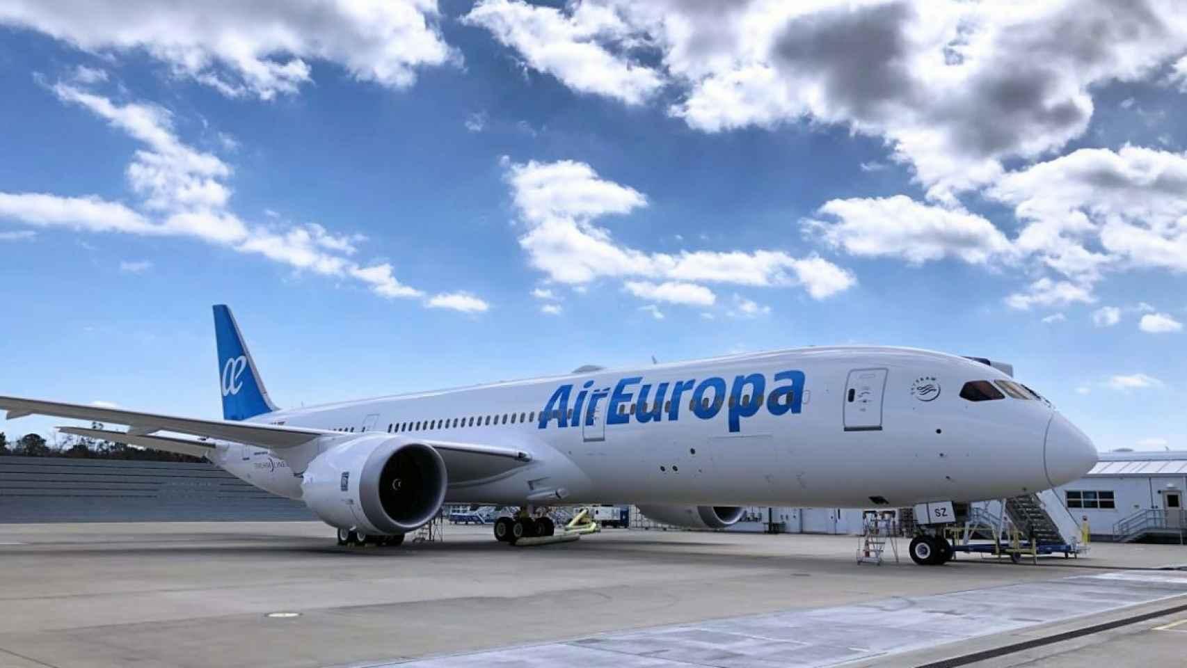 Imagen de un Boing perteneciente a la compañía española Air Europa.