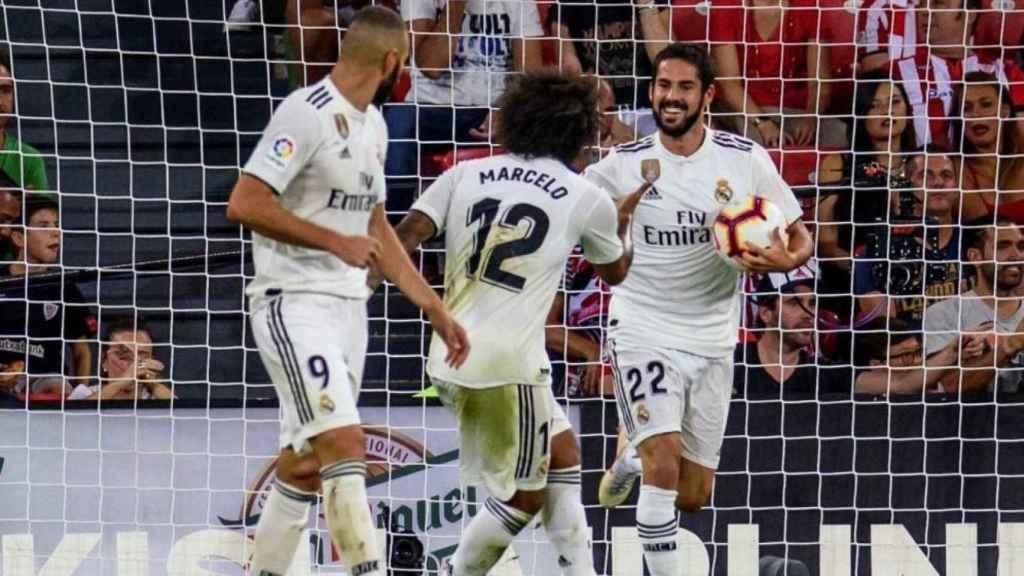 Marcelo e Isco celebran un gol con el Real Madrid