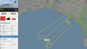 Recorrido efectuado por el avión A400M en el Golfo de Cádiz.