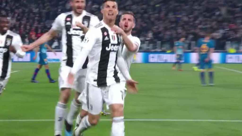 Cristiano Ronaldo celebra su segundo gol. Foto: Twitter (@chirichampions)