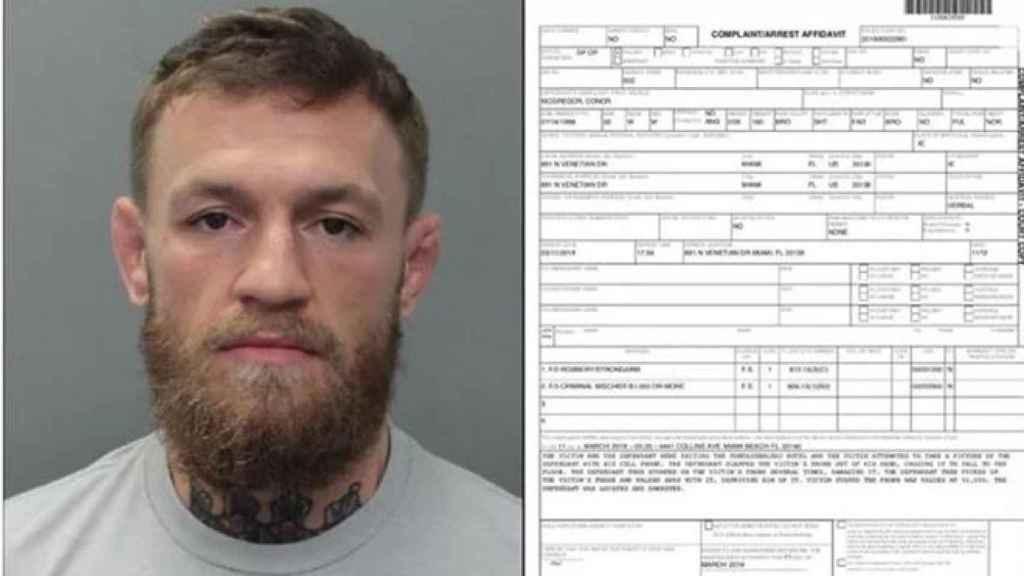 Imagen de Conor McGregor arrestado junto a su ficha policial. Foto: Twitter (@MiamiBeachPD)