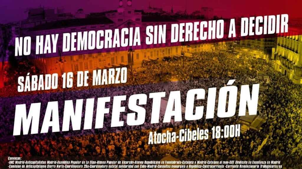 Cartel de la manifestación separatista en Madrid convocada para el 16-M.