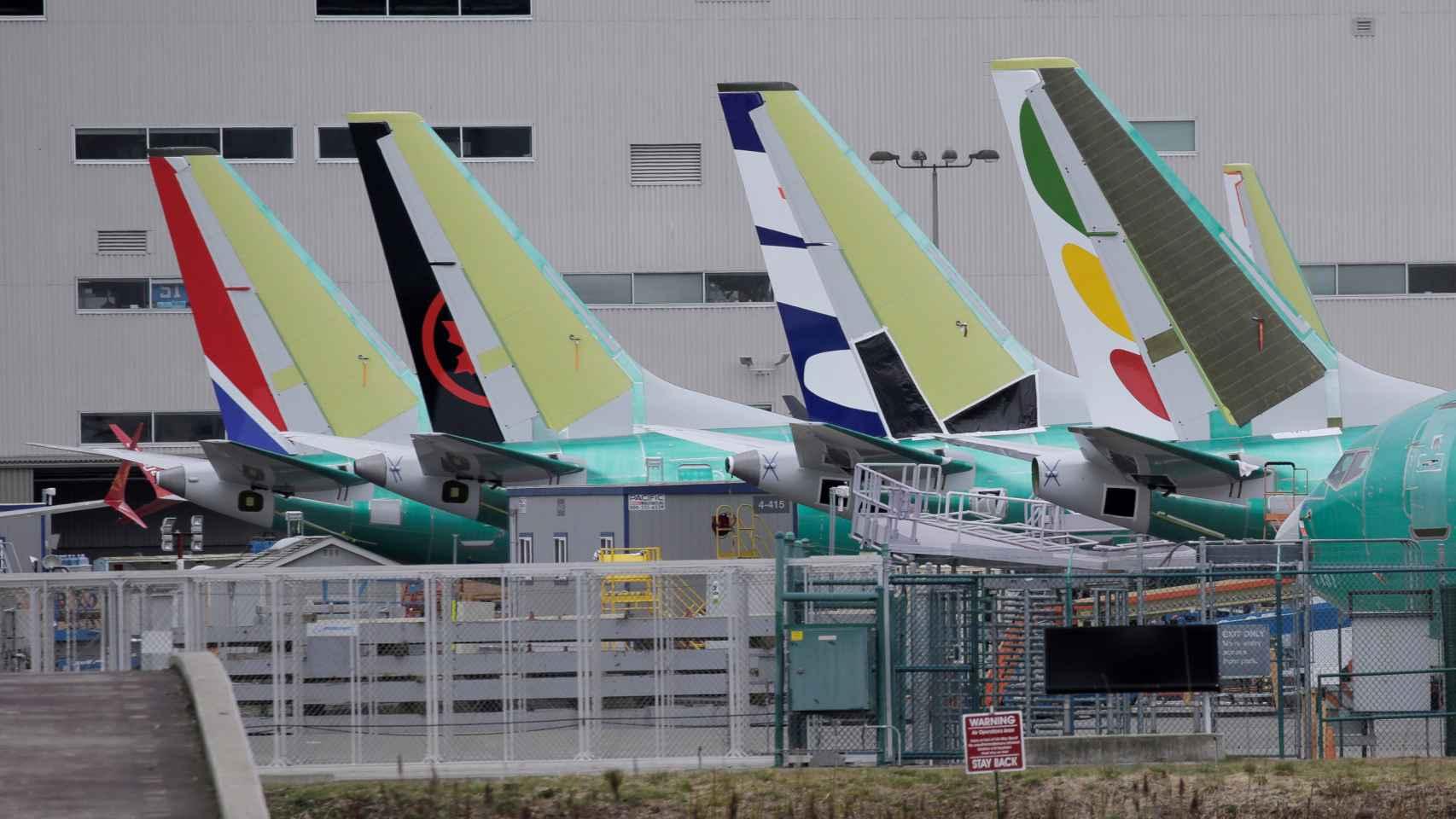 Aviones 737 MAX en una fábrica de Boeing.