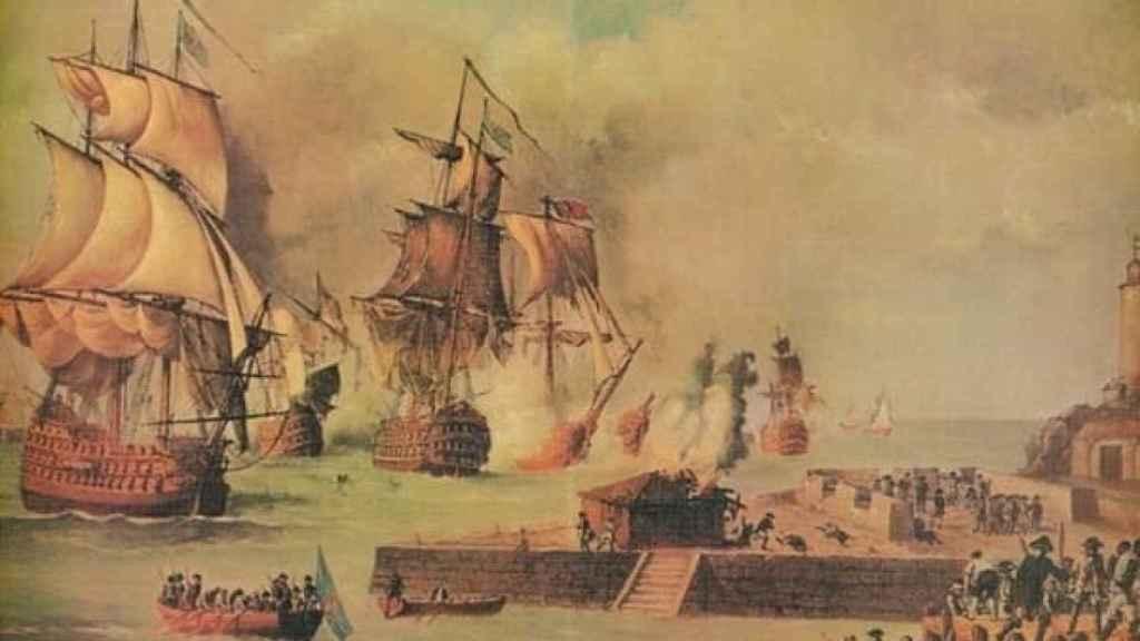 Pintura de Luis Fernández Gordillo sobre la Batalla de Cartagena de Indias
