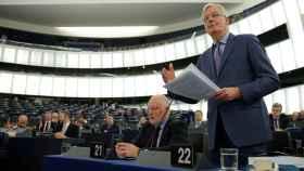 El negociador Michel Barnier, durante su discurso en la Eurocámara