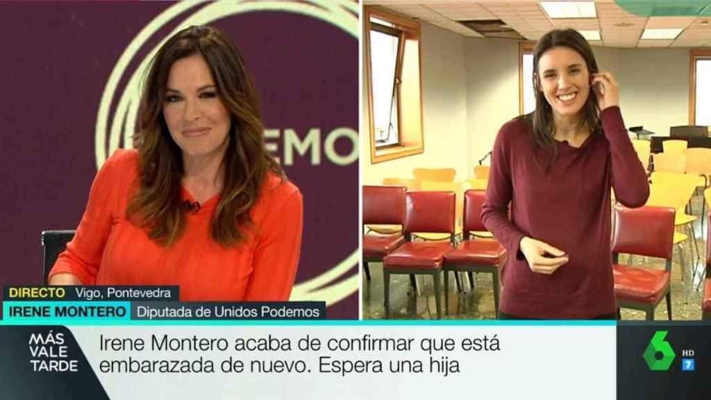 La periodista Mamen Mendizábal e Irene Montero en el programa 'Más vale tarde'.