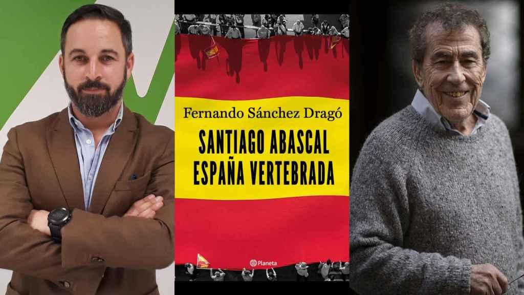 Abascal, la portada del libro y Sánchez Dragó.