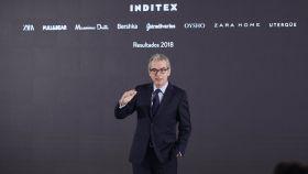 El presidente de Inditex, Pablo Isla, durante la presentación de resultados.