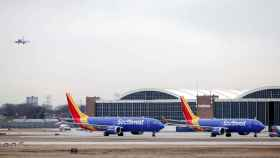 Southwest Airlines Co. Boeing 737 MAX 8 aircraft sit at Midway International Airport in Chicago