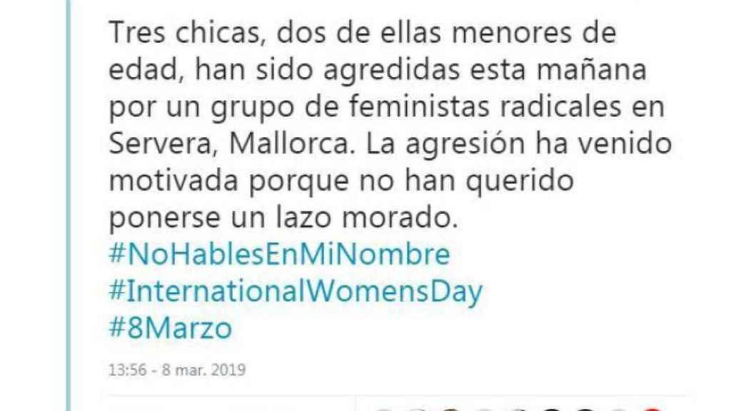 Tuit de Vox Baleares difundiendo la noticia.