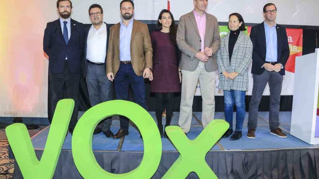 Iván Espinosa de los Monteros, Francisco Serrano, Santiago Abascal, Rocío Monasterio, Javier Ortega Smith, Mazaly Aguilar y Pedro Fernández.
