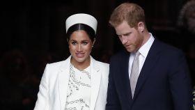 Harry de Inglaterra y Meghan Markle en un evento por el día de la Commonwealth en Londres.