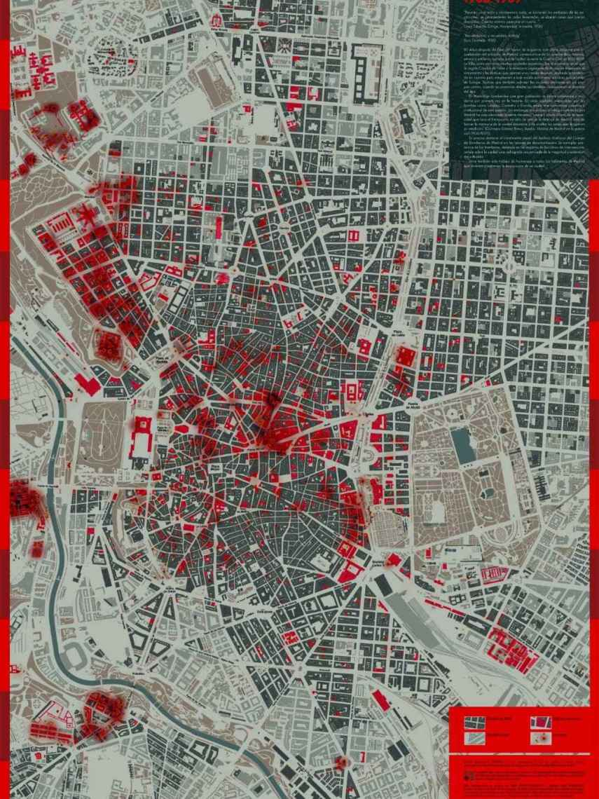 Mapa de Madrid bombardeado 1936-1937.