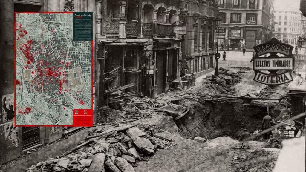 Una calle de Madrid destrozada por una bomba de la aviación franquista.