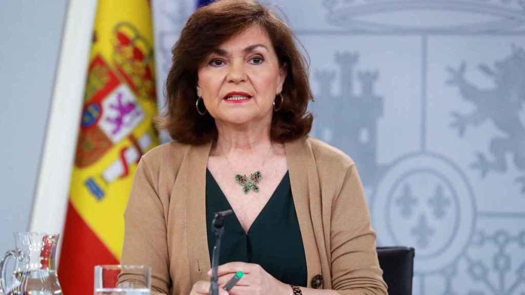 La vicepresidenta del Gobierno, Carmen Calvo, este viernes tras el Consejo de Ministros.