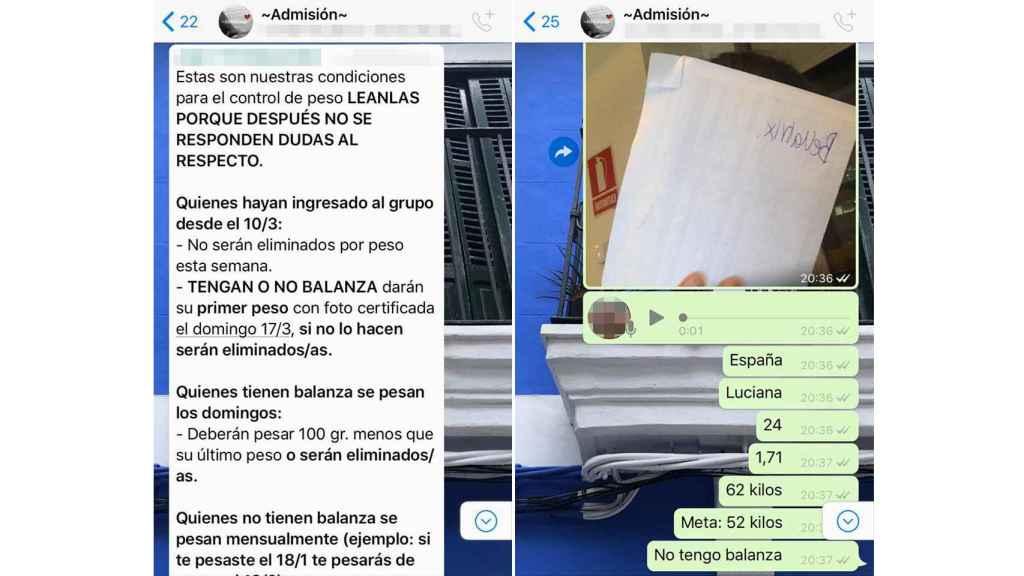 En la imagen, capturas de los  exigentes grupos de WhatsApp a los que no es fácil entrar.