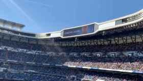 Zidane, en el videomarcador del Santiago Bernabéu