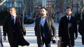 Javier Ortega Smith, Santiago Abascal e Iván espinosa de los Monteros, líderes de Vox.
