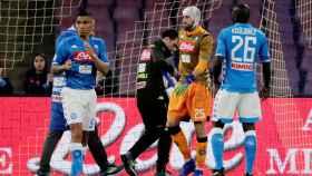 Ospina, durante el Nápoles - Udinese