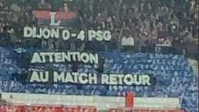 Pancarta de los ultras del PSG por los fracasos del equipo en Champions