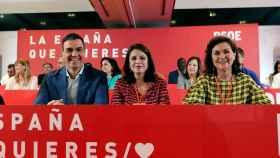 Pedro Sánchez, Adriana Lastra y la vicepresidenta Carmen calvo, en el Comité Federal del PSOE.