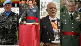 Cuatro generales fichados por Vox: Asarta, Mestre, Rosety y Coll.