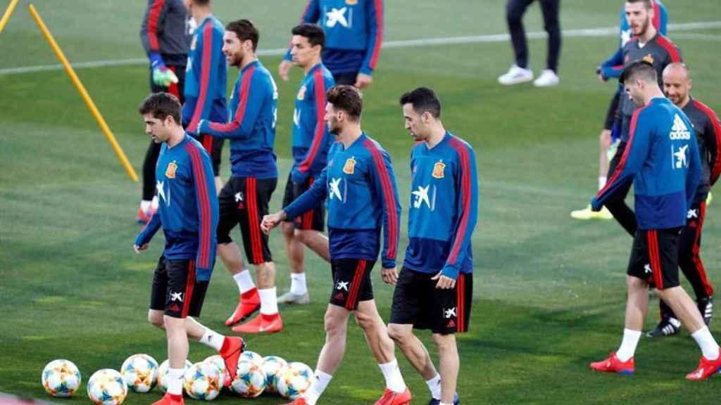 Entrenamiento de la selección española en La Ciudad del Fútbol