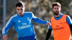 Brahim Díaz e Isco, en un entrenamiento del Real Madrid