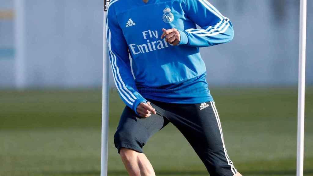 Lucas Vázquez, durante el entrenamiento del Real Madrid