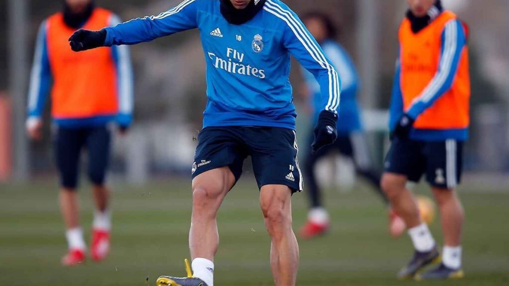 Marcos Llorente, en un entrenamiento del Real Madrid. Foto: Twitter (@marcos llorente)