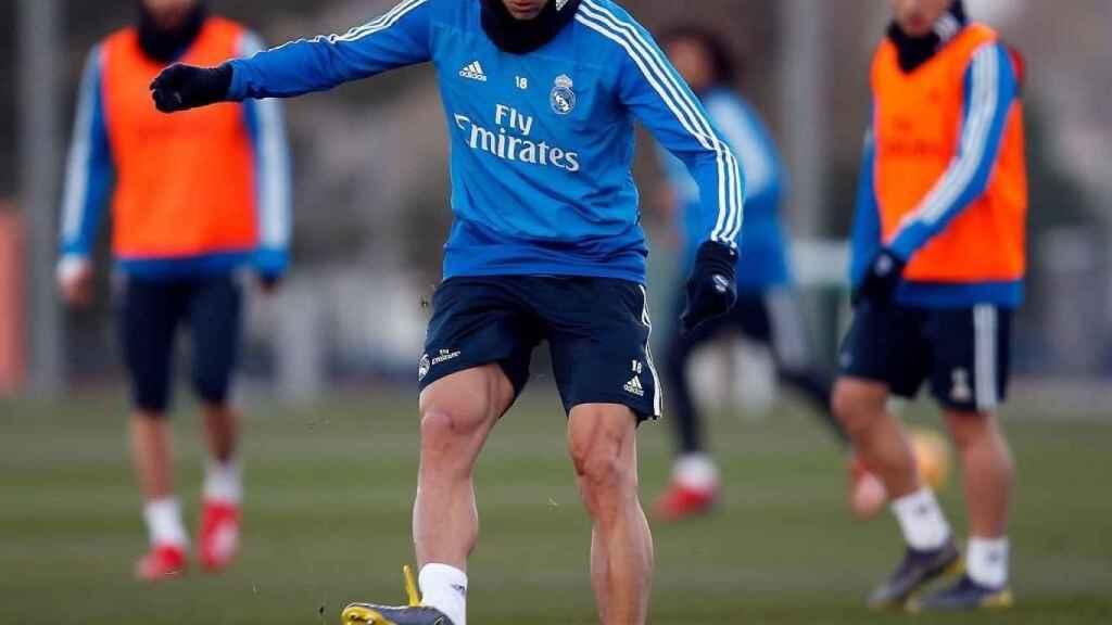 Marcos Llorente, en un entrenamiento del Real Madrid