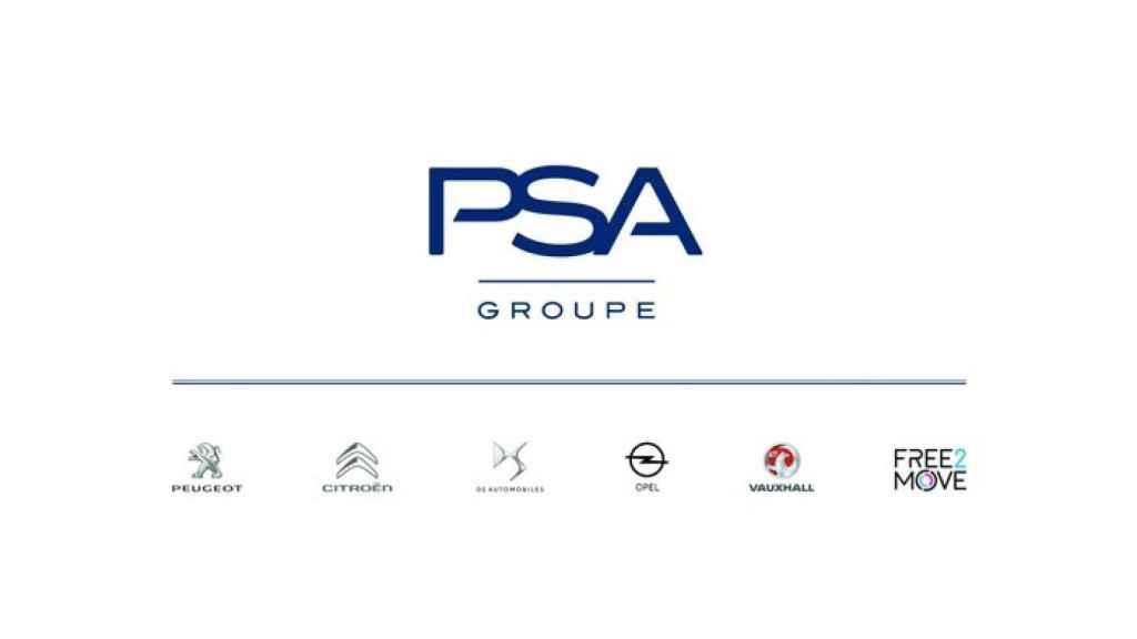 El logo del Grupo PSA con todas las marcas