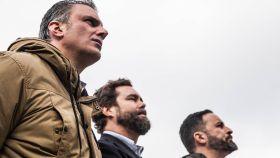 Los dirigentes de Vox Javier Ortega Smith, Iván Espinosa de los Monteros y Santiago Abascal.