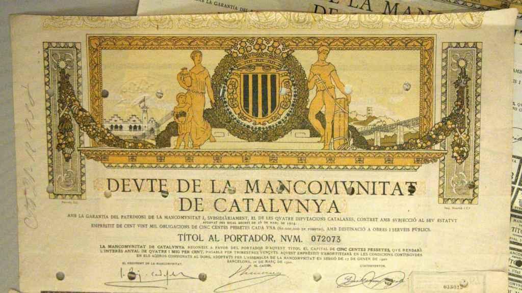Deuda de la Mancomunidad Catalana, expuesta con motivo de su centenario