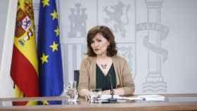 Carmen Calvo en una rueda de prensa