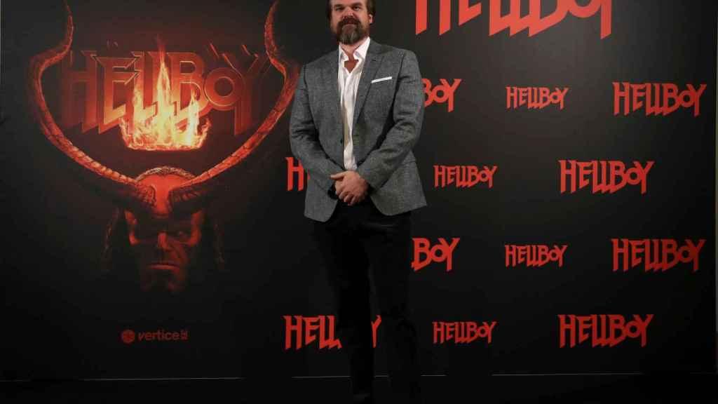 El actor estadounidense David Harbour, durante el pase gráfico de Hellboy.