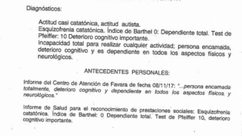 Parte del informe médico del estado de salud de Julio Montemayor. Tiene fecha de noviembre de 2017.