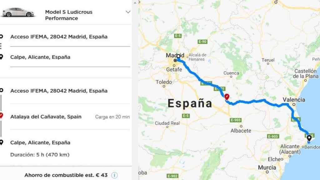 Planificación de la ruta del GPS de Tesla
