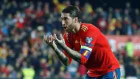 Sergio Ramos, tras anotar el segundo gol de España